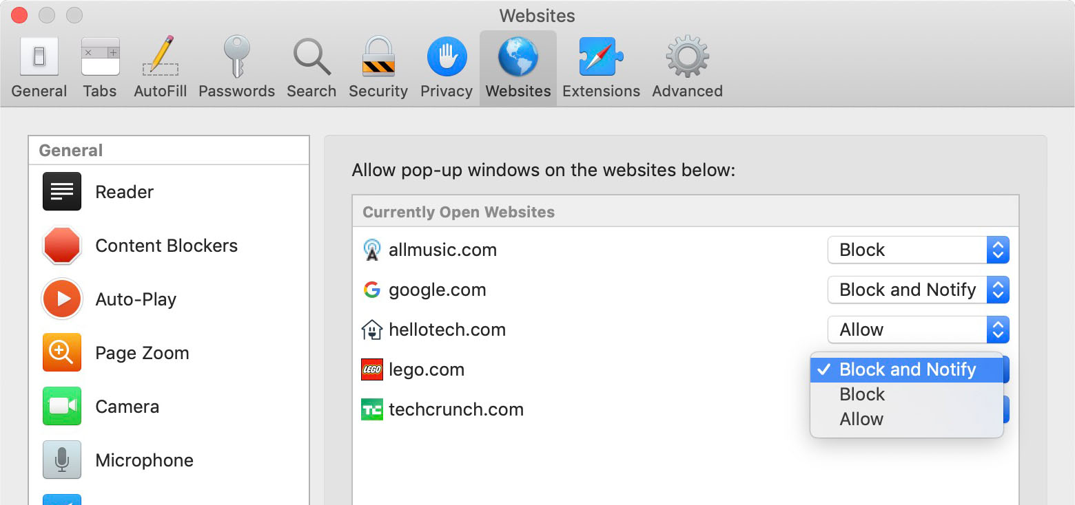How to Turn Off the Pop-up Blocker on Safari Desktop exceptions